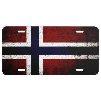 Schwarze Schmutz-Norwegen-Flagge 1 US Nummernschild