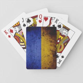 Schwarze Schmutz-Ukraine-Flagge Spielkarten