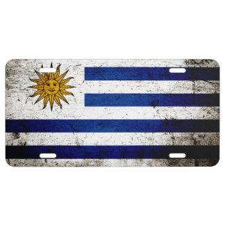 Schwarze Schmutz-Uruguay-Flagge 1 US Nummernschild