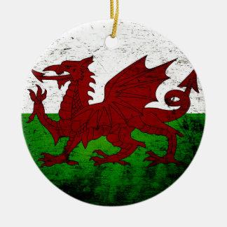 Schwarze Schmutz-Wales-Flagge Keramik Ornament