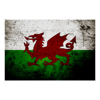 Schwarze Schmutz-Wales-Flagge Poster
