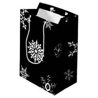 Schwarze Schneeflocke Mittlere Geschenktüte