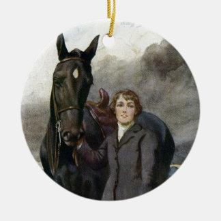 Schwarze Schönheit - sie wählte mich für ihr Pferd Rundes Keramik Ornament