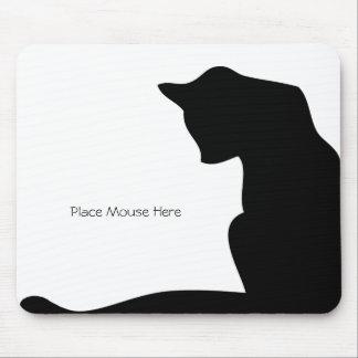 Schwarze Silhouette-Katze - setzen Sie Maus hier Mauspad
