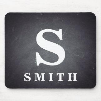 Schwarze Tafel-personalisiertes Monogramm Mauspads