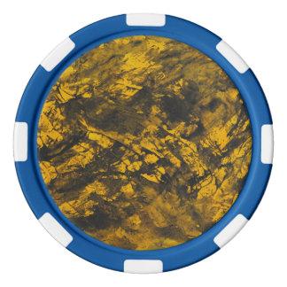 Schwarze Tinte auf gelbem Hintergrund Poker Chips