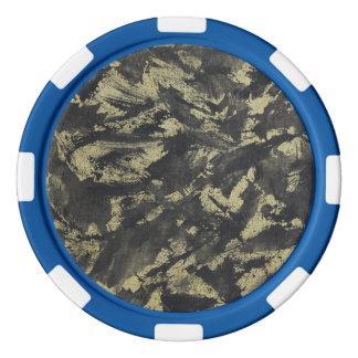 Schwarze Tinte auf Goldhintergrund Poker Chip Set