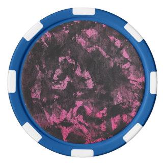 Schwarze Tinte auf rosa Hintergrund Poker Chips