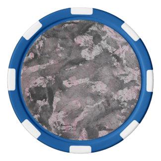 Schwarze Tinte auf rosa Leuchtmarker Poker Chips Set