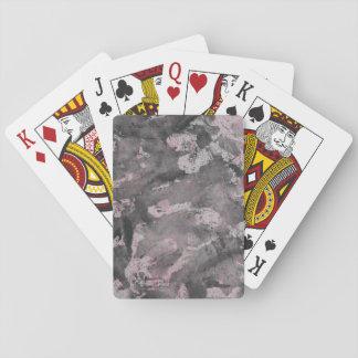 Schwarze Tinte auf rosa Leuchtmarker Spielkarten