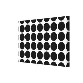 Schwarze Tupfen auf Weiß Galerie Falt Leinwand