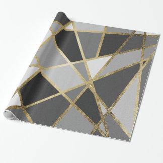 Schwarze u. graue moderne Geo-Golddreiecke Geschenkpapier