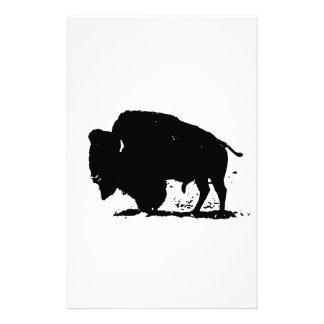 Schwarze u. weiße Büffel-Silhouette Briefpapier