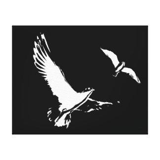 Schwarze u. weiße Fliegen-Vögel - Leinwand Gespannte Galeriedrucke