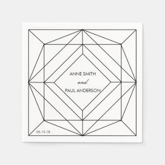 Schwarze u. weiße geometrische Hochzeit Servietten