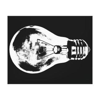 Schwarze u. weiße Glühlampe - Leinwand