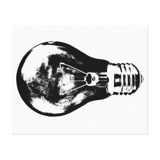 Schwarze u. weiße Glühlampe - Leinwand Galerie Gefaltete Leinwand