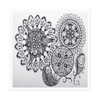 Schwarze u. weiße Mandala-keltische Galerie Falt Leinwand