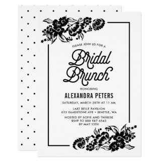 Schwarze u. weiße moderne Blumenakzent-BrautBrunch 12,7 X 17,8 Cm Einladungskarte