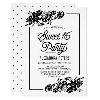 Schwarze u. weiße moderne Blumenakzente 16. 12,7 X 17,8 Cm Einladungskarte
