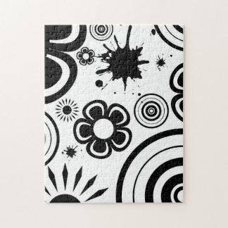Schwarze u. weiße wunderliche Blumen, Kreise, Puzzle