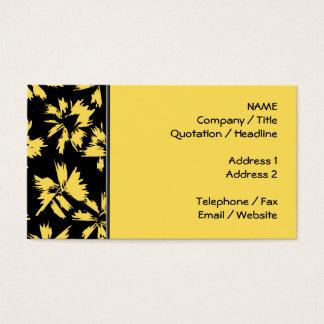 Schwarze und gelbe Blumen Visitenkarten