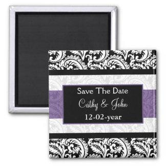 Schwarze und lila Damast-Hochzeit Quadratischer Magnet