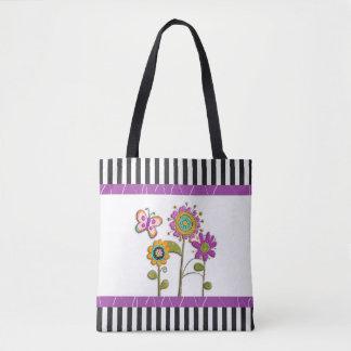 Schwarze und lila VolksBlumen-Taschen-Tasche