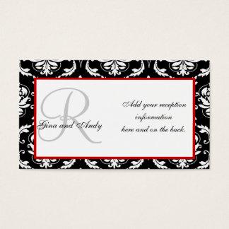 Schwarze und rote Damast-Hochzeits-Empfangs-Karten Visitenkarte
