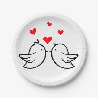 Schwarze und rote Wedding Lovebirds und Herzen Pappteller
