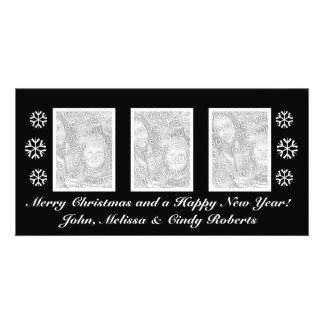 Schwarze WeihnachtsFoto-Kartenschablone | drei Photokartenvorlage