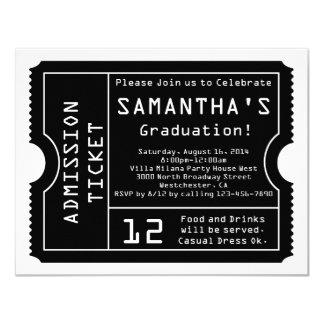 Schwarze/weiße Digital-Abschluss-Karten-Einladung 10,8 X 14 Cm Einladungskarte