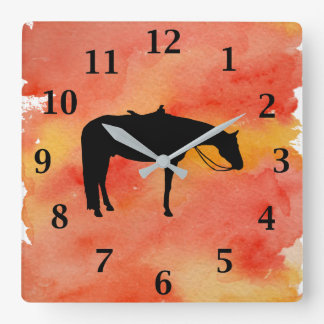Schwarze Western-PferdeSilhouette auf Watercolor Quadratische Wanduhr