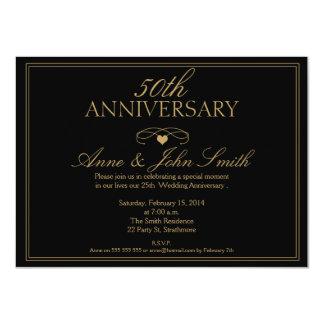 Schwärzen Sie 50. Hochzeitstag-Einladung 11,4 X 15,9 Cm Einladungskarte
