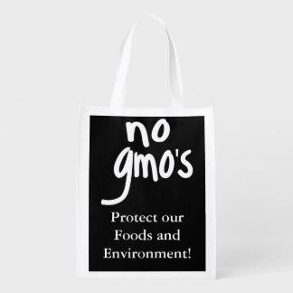 Schwärzen Sie keines GMOs schützen unsere Nahrung Wiederverwendbare Einkaufstasche