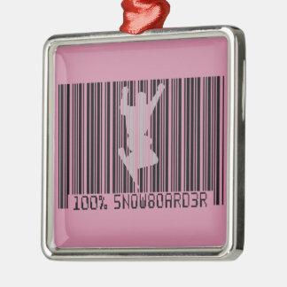 Schwarzer Barcode 100% des SNOWBOARDERS 2 Silbernes Ornament