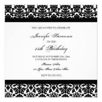 Schwarzer Damast-25. Geburtstags-Party Einladungen