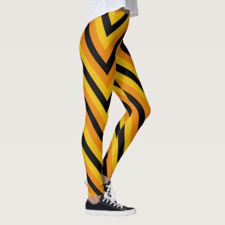 Schwarzer gelb-orangeer Zickzack-Zickzack Leggings