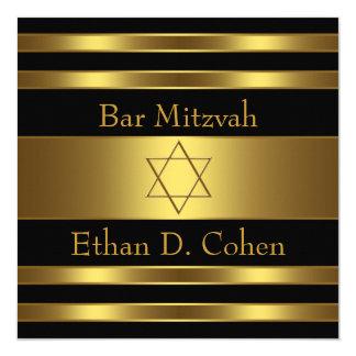 Schwarzer Golddavidsstern Bar Mitzvah Karte