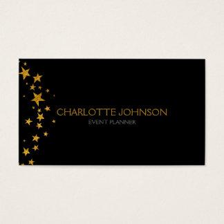 Schwarzer goldener Stern-Stylist-Ereignis-Planer Visitenkarten