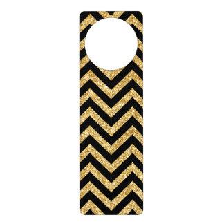 Schwarzer GoldGlitter-Zickzack Stripes Zickzack Türanhänger