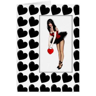 Schwarzer herziger Valentinsgruß Karte