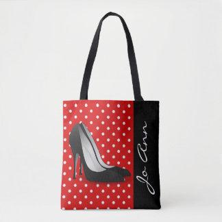 Schwarzer hoher Heels-rotes weißes