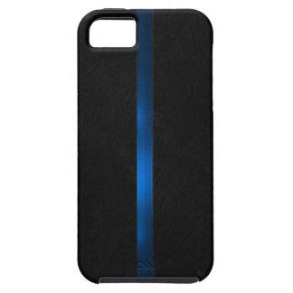 Schwarzer hölzerner Auftritt verdünnen Blue Line iPhone 5 Schutzhüllen