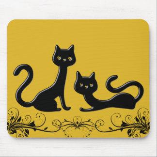 Schwarzer Kätzchen-Cartoon II Mousepad