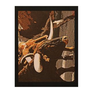 Schwarzer Kuh-Kunst-Druck Holzdruck