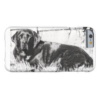 Schwarzer Labrador, der in die Sun-Skizze legt Barely There iPhone 6 Hülle