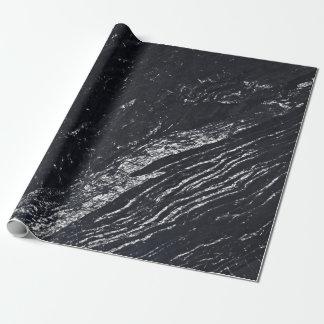 Schwarzer Marine-silbernes Grau-Carraramarmorstein Geschenkpapier