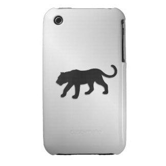 Schwarzer Panther auf Silber iPhone 3 Hüllen