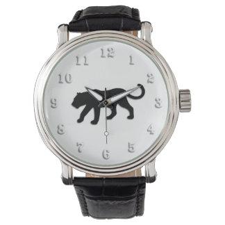 Schwarzer Panther auf Weiß Armbanduhr